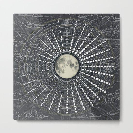 Phases // Moon Calendar 2017 Metal Print