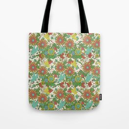 Garden Charm 10:  vintage retro butterfly shabby pattern yellow and blue Tote Bag