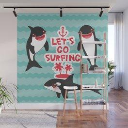 Lets go surfing, Kawaii orca Wall Mural