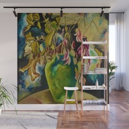 """African American Classical Masterpiece """"Still Life – Flowers and Vase"""" by Hale Woodruff Wall Mural"""