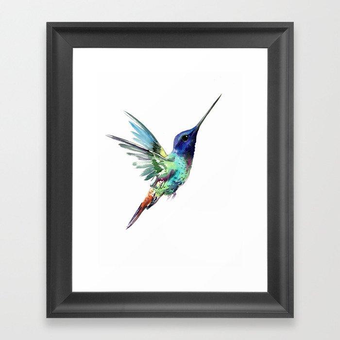 Flying Hummingbird flying bird, turquoise blue elegant bird minimalist design Gerahmter Kunstdruck