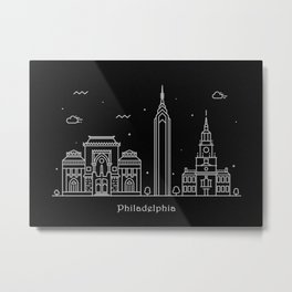 Philadelphia Minimal Nightscape / Skyline Drawing Metal Print