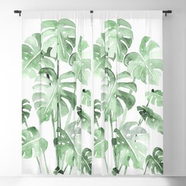 Delicate Monstera Green #society6 Blackout Curtain