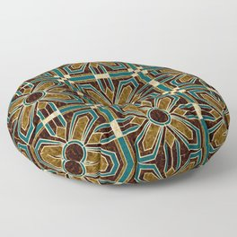 Art Deco Flowers in Brown and Teal Floor Pillow