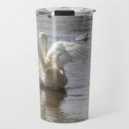 White Duck Flapping Wings on Water Travel Mug