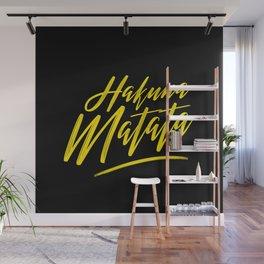 Hakuna Matata (Yellow on Black) Wall Mural
