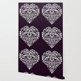 white damask heart Wallpaper