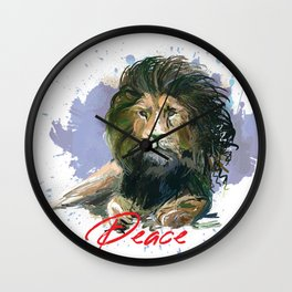 lion sitting in peace poster   lion art Wall Clock