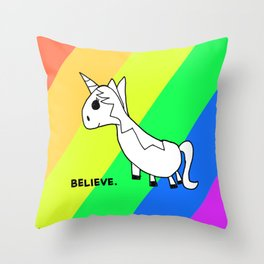 Believe in Unicorns - Art by Child Throw Pillow