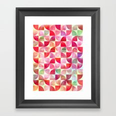 Oh Pink! - textured geometric pattern in candy pinks & mint Framed Art Print