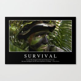 Survival: Inspirational Quote and Motivational Poster Canvas Print