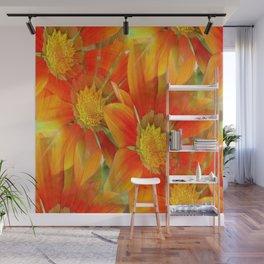 Seamless Vibrant Yellow Gazania Flower Wall Mural