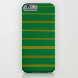 Emerald Green and Honey Gold Thin Stripes iPhone Case