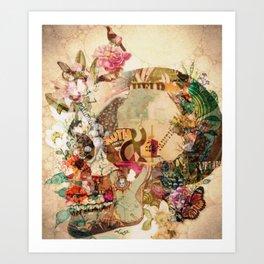 Art Vintage Sugar Skull Flowers Art Print