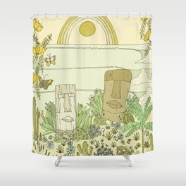 tiki gods send waves and peace swamis // retro surf art by surfy birdy Shower Curtain