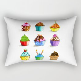 Illustration of tasty cupcakes Rectangular Pillow