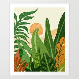 Summer In the Jungle / Contemporary Sunset Scene Art Print