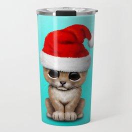 Christmas Lion Wearing a Santa Hat Travel Mug