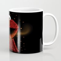 elmo Mugs featuring Elmo and Little Butterfly by Fathi