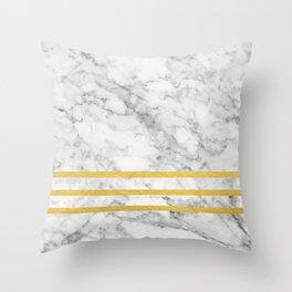 Marble & Gold Stripes Throw Pillow