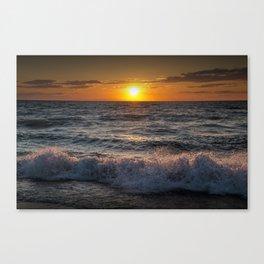 Lake Michigan Sunset with Crashing Shore Waves Canvas Print
