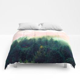 Watercolor mountain landscape Comforters