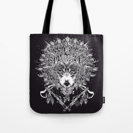 Chief wolf with crossed tomahawks Tote Bag