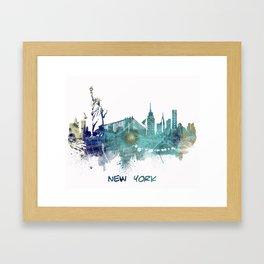 New York City Skyline blue Framed Art Print