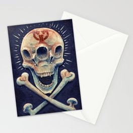 Biohazard triple eye skull Stationery Cards