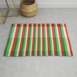 Green, Star White and Red Stipe Overlay Pattern Rug
