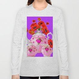 DECORATIVE PORCELAIN & RED  POPPIES FLORA  ART Long Sleeve T-shirt