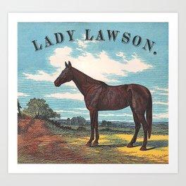 Lady Lawson Vintage Fine Chestnut Racing Horse Art Print