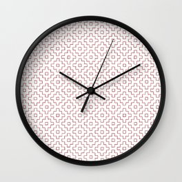 Persimmon Hitomezashi Sashiko - Red on White Wall Clock
