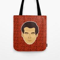 james bond Tote Bags featuring James Bond - Goldeneye by Kuki
