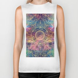Gold watercolor and nebula mandala Biker Tank