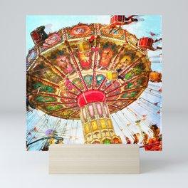 Vintage, retro carnival swing ride photo Mini Art Print