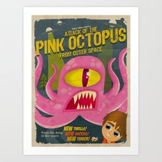 Pink octopus from outer space Art Print