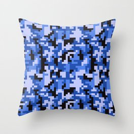 Blue and Black Water Pixel Camo pattern Throw Pillow