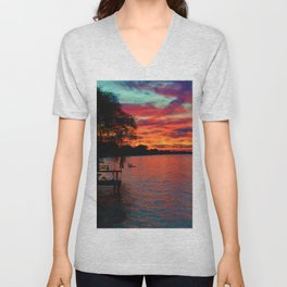 Sunset on Lake St. Clair in Belle River, Ontario, Canada Unisex V-Neck