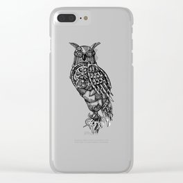 Hand Drawn Steampunk Owl Standing on Branch Clear iPhone Case
