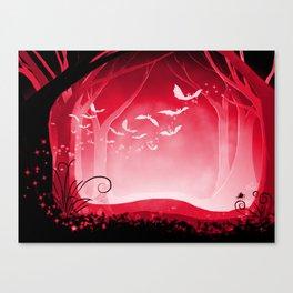Dark Forest at Dawn in Ruby Canvas Print