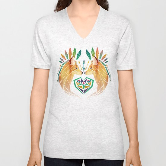 foxes in love Unisex V-Neck