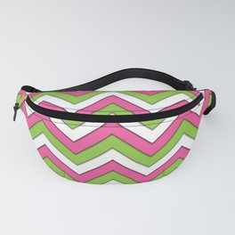 Pink Green and White Chevrons Fanny Pack