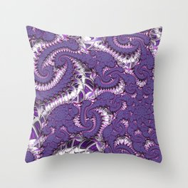 Purple Fractal Throw Pillow