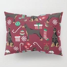 Doberman Pinscher christmas holiday pet pattern dog portrait dog breeds Pillow Sham