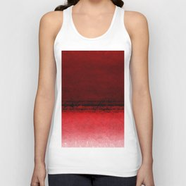 Deep Ruby Red Ombre with Geometrical Patterns Unisex Tank Top