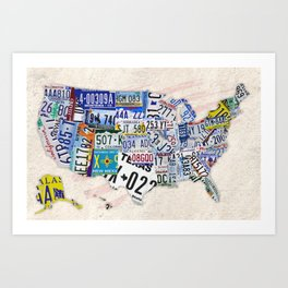 USA MAP Consisting of all States' License Plates  Art Print