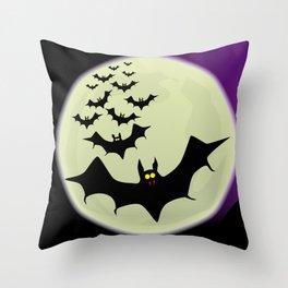 Bats and Moon Throw Pillow