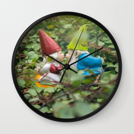 First Kiss - Garden Gnome Wall Clock