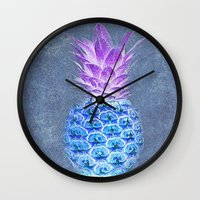 pineapple Wall Clocks featuring Pineapple  by Saundra Myles